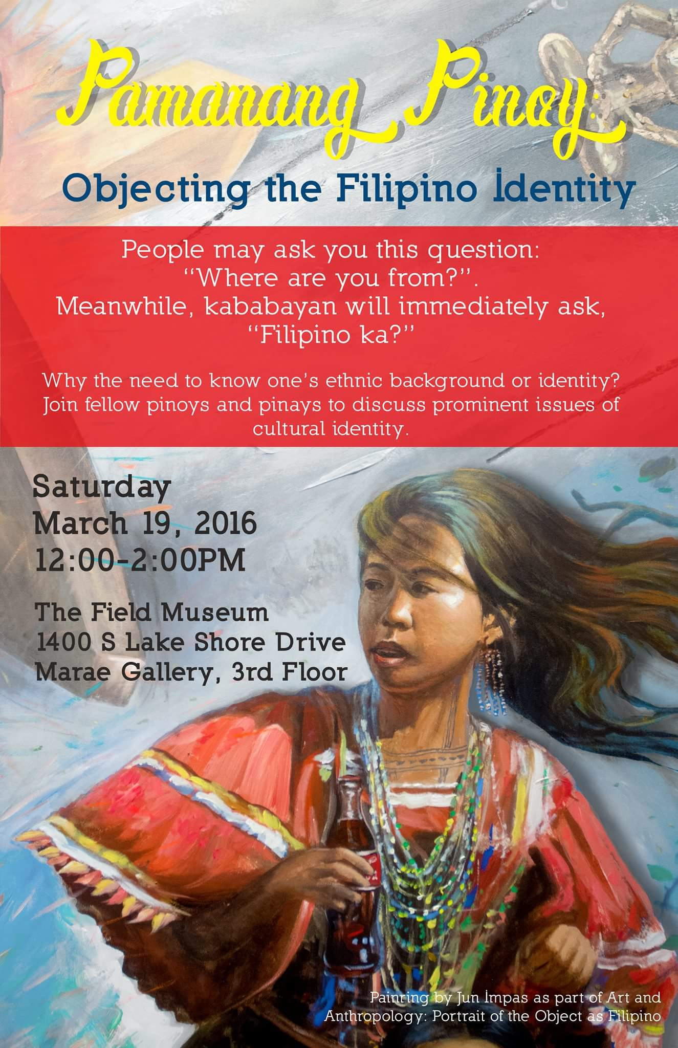Event flier for Pamanang Pinoy: Objecting the Filipino Identity