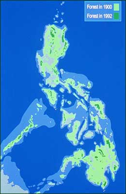 Old-growth rain forest covered about 70 percent of the Philippines in 1900. By 1992, that had been reduced to only abtou eight percent, in scattered, usually small, fragments. Redrawn from National Mapping and Resource Information Authority, 1988.  [Copyright] Field Museum of Natural History - CC BY-NC