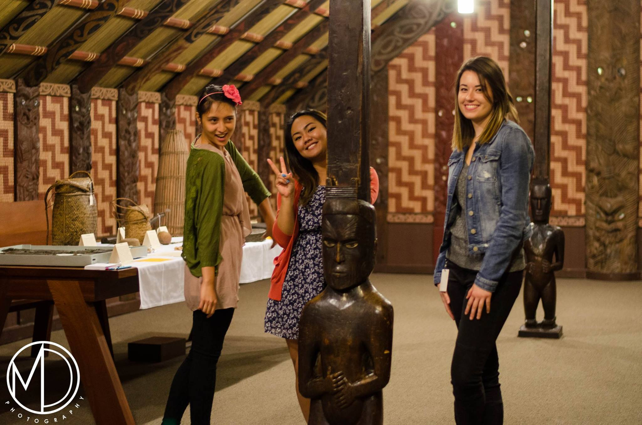 Volunteers within the Marae House.