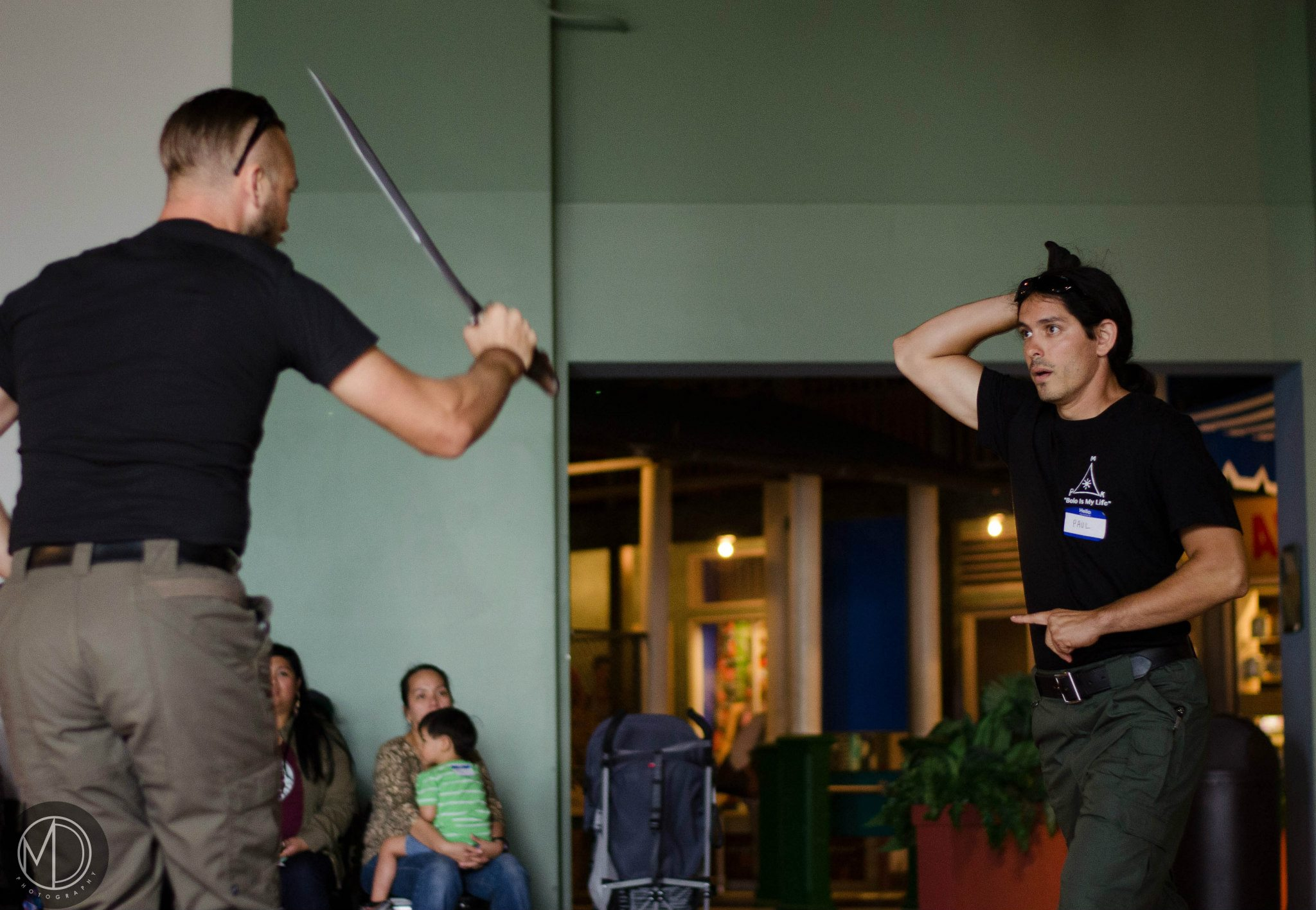 Members of Kali Center, Tom and Paul, demonstrate techniques of this martial art.