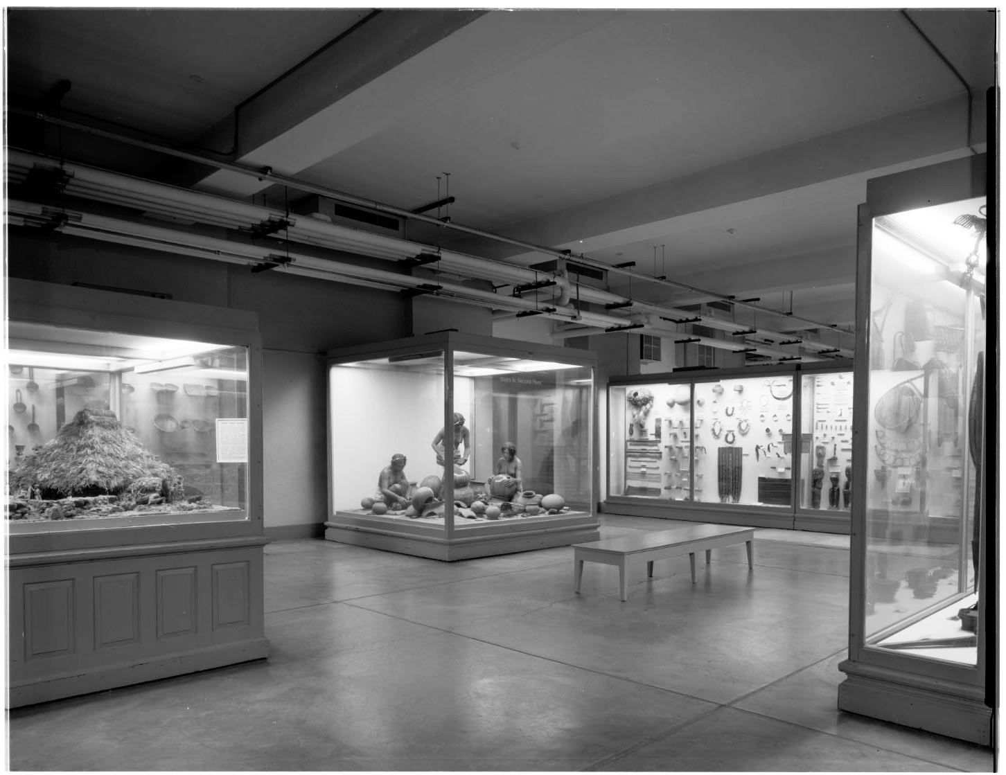 Hall A Philippines overall view documentary record of exhibit cases and dioramas before deinstallation, includes Igorot Pottery makers diorama (c) Field Museum of Natural History - CC BY-NC