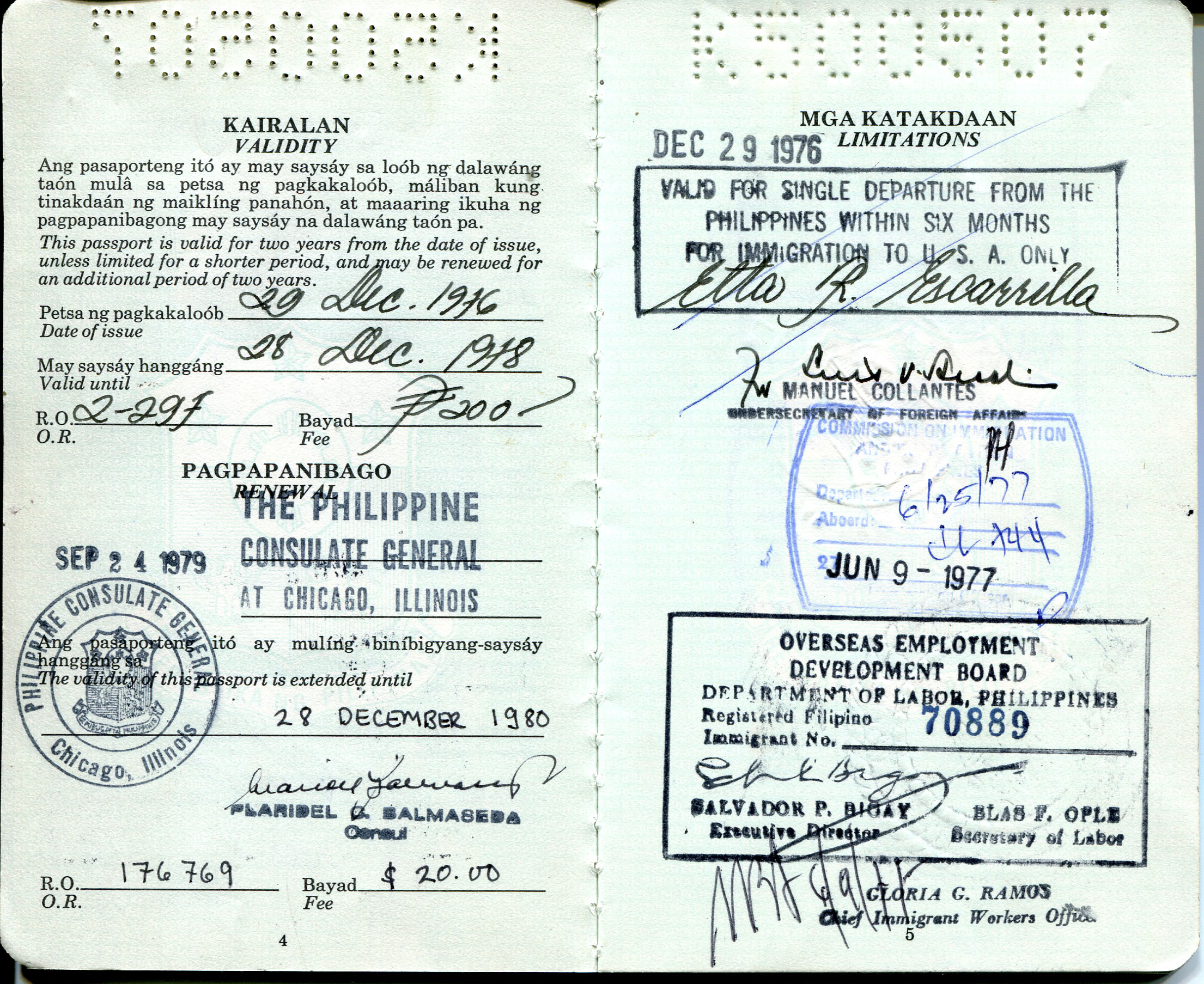 "'Scan - Pages 4 and 5 of passport of Etta McKenna. 1976 Passport from the Philippine Immigration Office, during process to immigrate to the US.  Names of passport pages in Wika Filipino ""Pasaporte"" and ""Republica""  Notes from Sarah Carlson, in discussion with McKenna: ""First Phil. passport I used when I immigrated to the US in 1977. It reminded me of the months of overtime work in order to afford, prepare and complete all documents needed to come to the US. Without any relatives to support me in the US, I had to make sure I had enough to support myself the first few months in the new land until I got a job. The process, even though difficult, is worth remembering.""   Any views, findings, conclusions, or recommendations expressed in this story do not necessarily represent those of the National Endowment for the Humanities. [Copyright] Field Museum of Natural History - CC BY-NC"