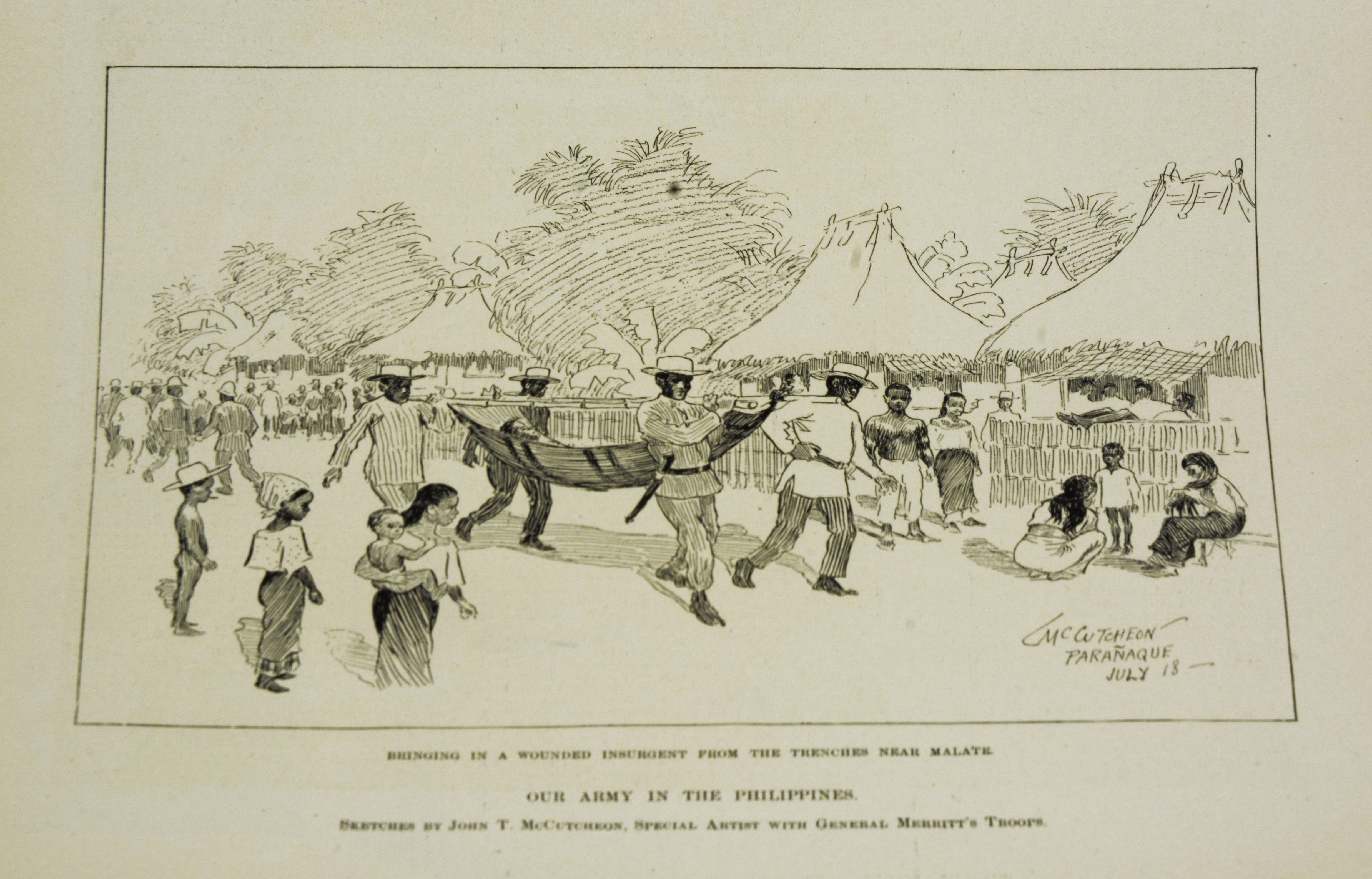 """Illustration owned by Paulla Santos. Created in September 3, 1898  Acquired in June 2017  Acquired from Odana Antiques & Fine Arts Center, Madison, WI.  Made in New York City, Harper's Weekly. Harper & Brothers Publishers.  Was purchased  It is an illustrations of Filipinos carrying a wounded insurgent.  English is used in the document.  Importance: """"It is important because it is amazing to own something that was created during a huge turning point in Philippine and US History.""""  Notes from Sarah Carlson, in discussion with Santos: """"[I] Like to go antiquing, found some did publications of the Philippines History Student - studying transnational marriages between PI and USA. Amazing to find a PI object in the Midwest. Different sellers throughout antique shop seller got it at garage sale. Got it last month, saving money to frame right now in a bag. Confusing caption - who are """"our army"""" who is the """"Insurgent"""". Taking a summer intern program at Madison, class trip to Chicago. Went on collections tour, heard about digitization. Connects two parents' history family history which inspired research connection to the Philippines, found in Midwest.   Any views, findings, conclusions, or recommendations expressed in this story do not necessarily represent those of the National Endowment for the Humanities. [Copyright] Field Museum of Natural History - CC BY-NC"""