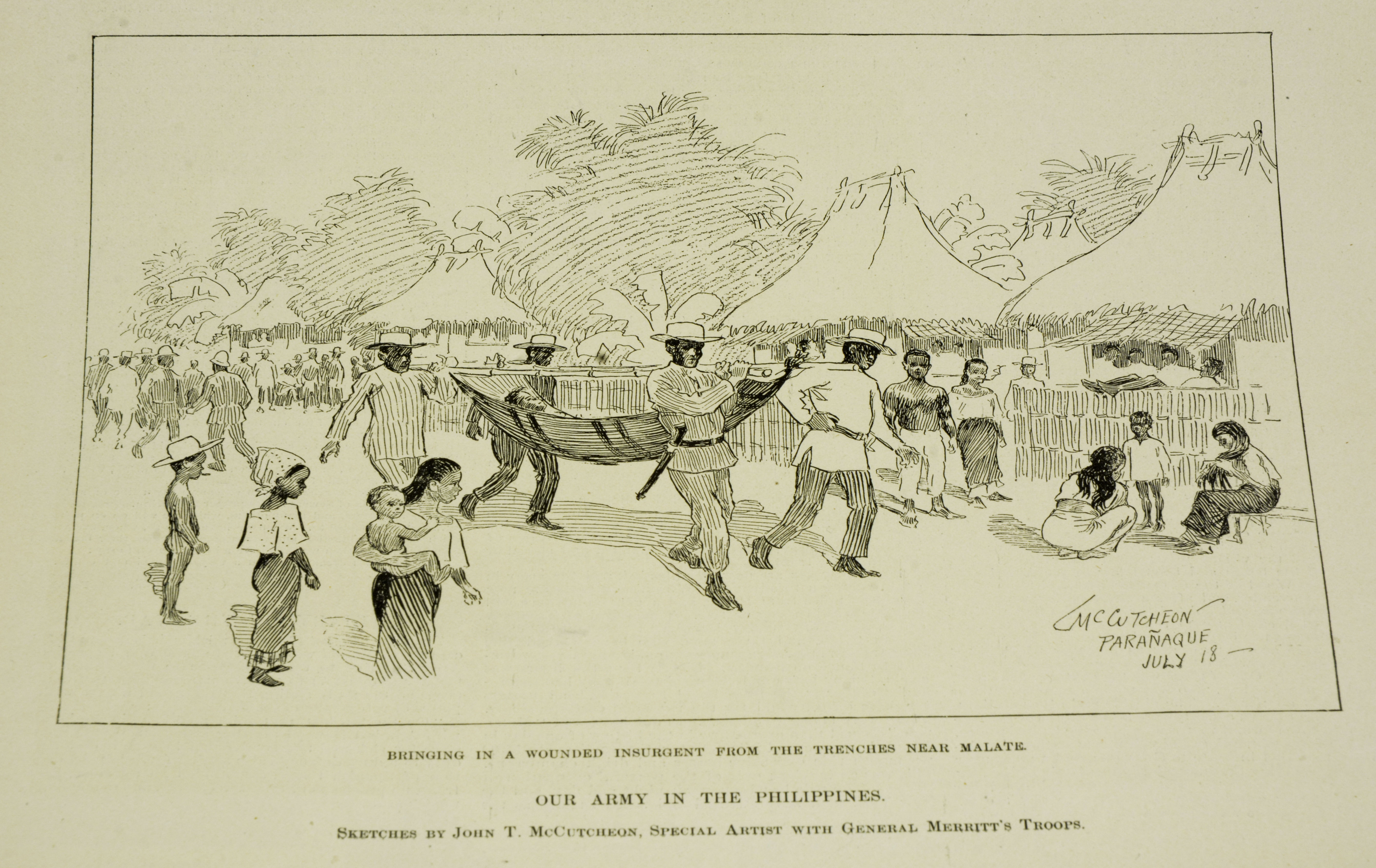 """Illustration owned by Paulla Santos Created in September 3, 1898  Acquired in June 2017  Acquired from Odana Antiques & Fine Arts Center, Madison, WI.  Made in New York City, Harper's Weekly. Harper & Brothers Publishers.  Was purchased  It is an illustrations of Filipinos carrying a wounded insurgent.  English is used in the document.  Importance: """"It is important because it is amazing to own something that was created during a huge turning point in Philippine and US History.""""  Notes from Sarah Carlson, in discussion with Santos: """"[I] Like to go antiquing, found some did publications of the Philippines History Student - studying transnational marriages between PI and USA. Amazing to find a PI object in the Midwest. Different sellers throughout antique shop seller got it at garage sale. Got it last month, saving money to frame right now in a bag. Confusing caption - who are """"our army"""" who is the """"Insurgent"""". Taking a summer intern program at Madison, class trip to Chicago. Went on collections tour, heard about digitization. Connects two parents' history family history which inspired research connection to the Philippines, found in Midwest.  Any views, findings, conclusions, or recommendations expressed in this story do not necessarily represent those of the National Endowment for the Humanities. [Copyright] Field Museum of Natural History - CC BY-NC"""