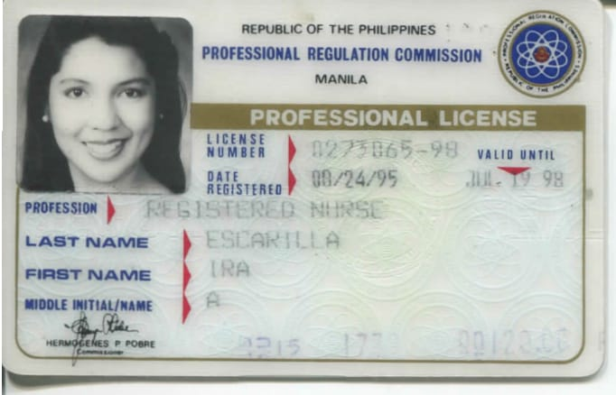 """Scanned document owned by Ira Escarilla-Carnate. Nursing License. Aug 24, 1995 from PRC- Professional Regulation Commission, Manila. In English. Grants """"Authority to practice profession."""" Escarilla-Carnate felt this was significant because without the license, she wouldn't have been able to apply for immigration to the USA. Her first employer, a nursing home in the US, sponsored her entry. She was to receive a green card which would allow her to be a permanent resident. Now she is a practicing nurse. Escarilla-Carnate added, """"The rest is history.""""  Any views, findings, conclusions, or recommendations expressed in this story do not necessarily represent those of the National Endowment for the Humanities. [Copyright] Field Museum of Natural History - CC BY-NC"""