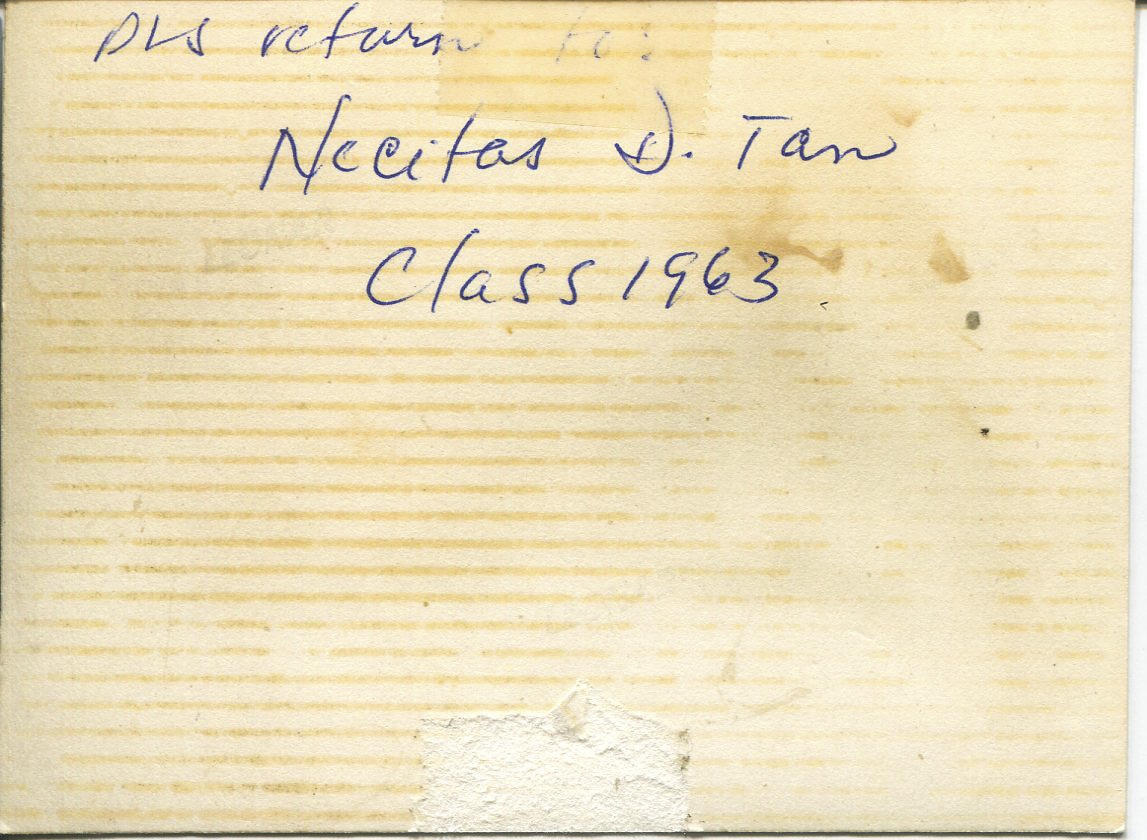 """Photo of Necitas, 1965 - backside  It is a picture of Tan, an office nurse at the Filipinas Hotel at Padre Faura. The back of the photo says """"Please return to Necitas D. Tan class of 1963"""". Tan said she was lucky to be hired as an office nurse at a hotel. Tan said there were lots of offices, with one used by a nurse from Canada. It is from that nurse that Tan heard Canada was recruiting. Tan went to Canada in 1965 then moved back to the Philippines in 1968. Tan moved to Chicago in 1969.   Any views, findings, conclusions, or recommendations expressed in this story do not necessarily represent those of the National Endowment for the Humanities. [Copyright] Field Museum of Natural History - CC BY-NC"""