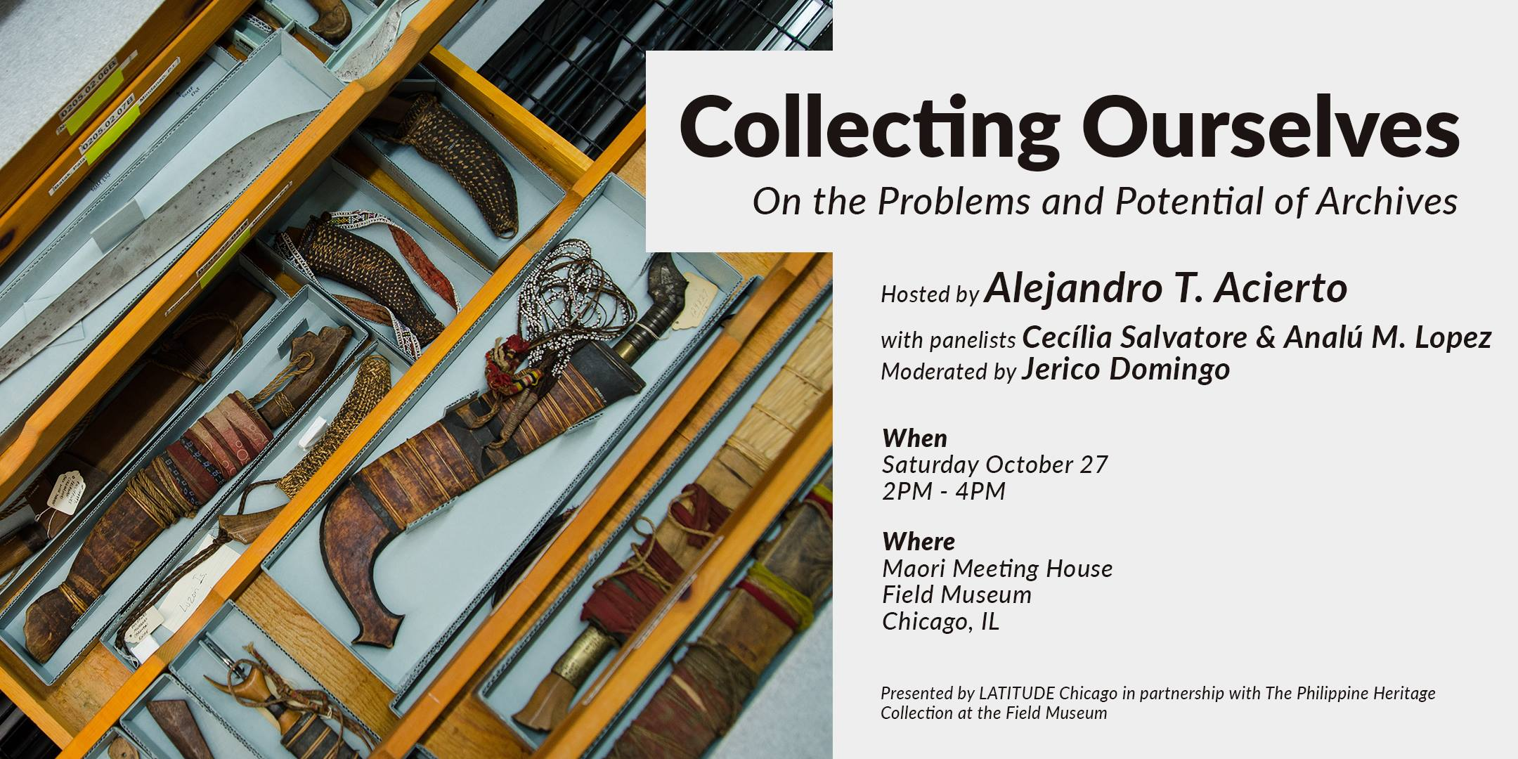 digital event flier for 27 October 2018 program titled Collecting Ourselves: On the Problems and Potential of Archives