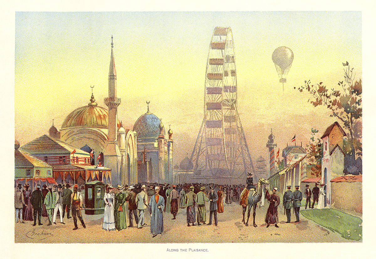 Along the [Midway] Plaisance. Ferris Wheel in distance. Color plate by Charles S. Graham from The World's Fair in Water Colors 1893.