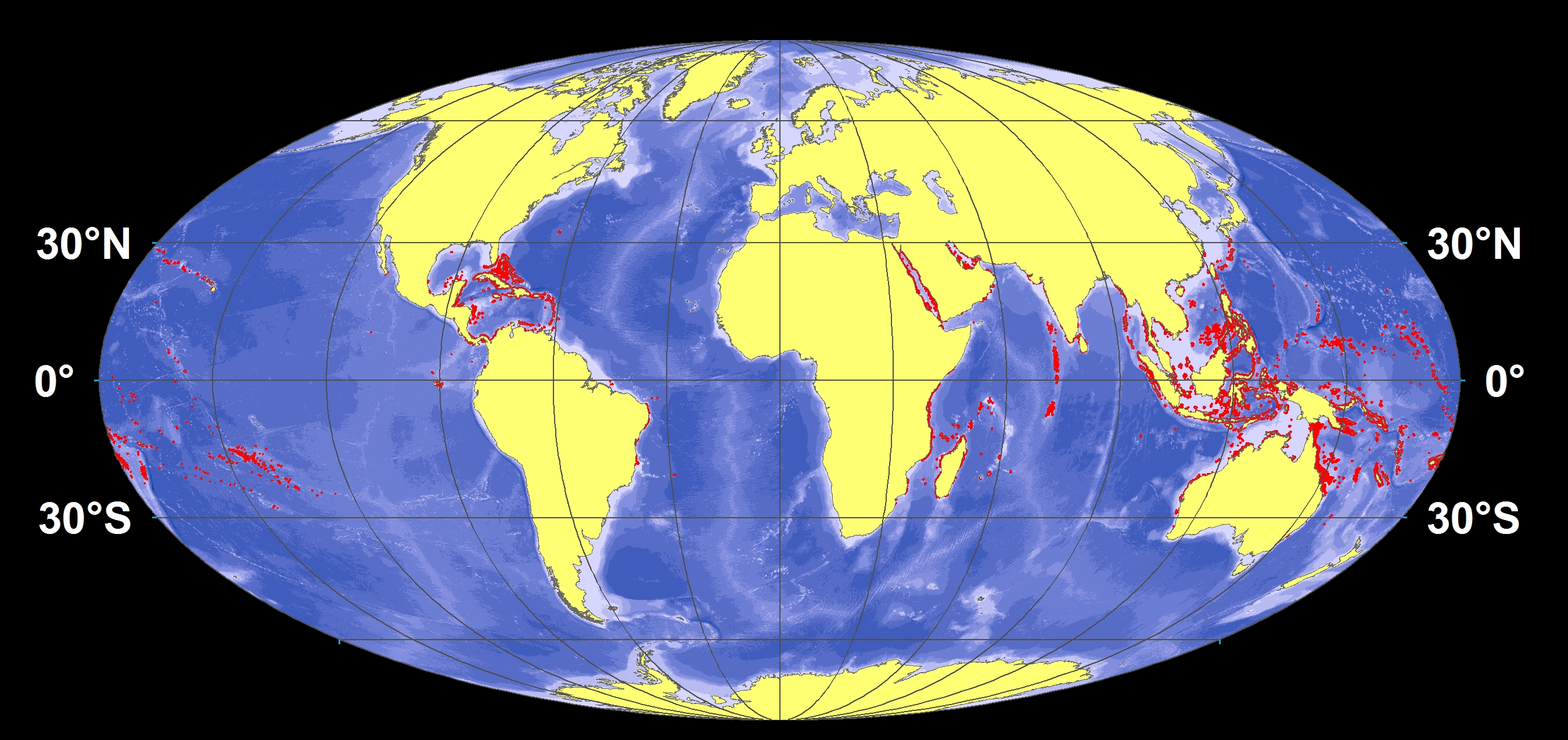 Global locations of modern reefs.