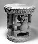 175555: wooden stool caryatid two human