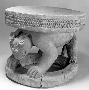 175545: wooden stool caryatid leopard