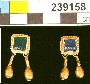 239158: Gold and glass pair of earrings