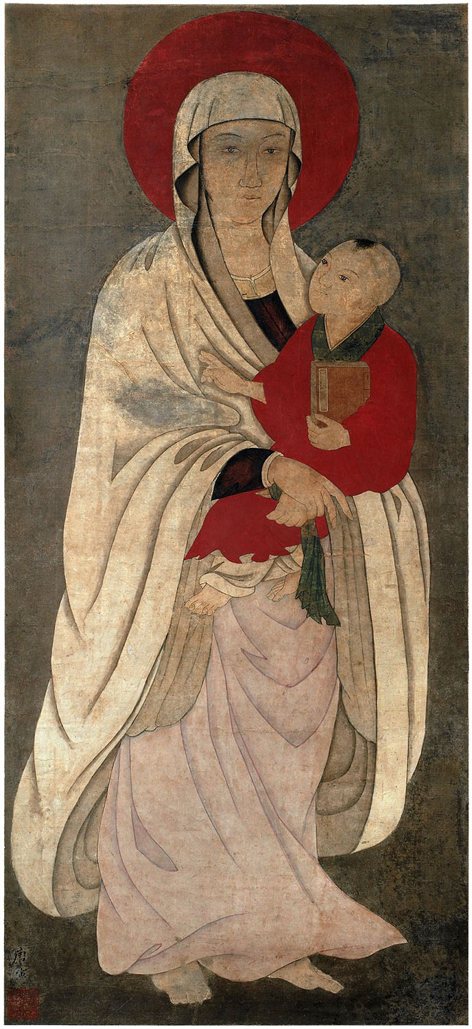 Chinese Madonna scroll. Overall painting Madonna and child. [Copyright] Field Museum of Natural History - CC BY-NC