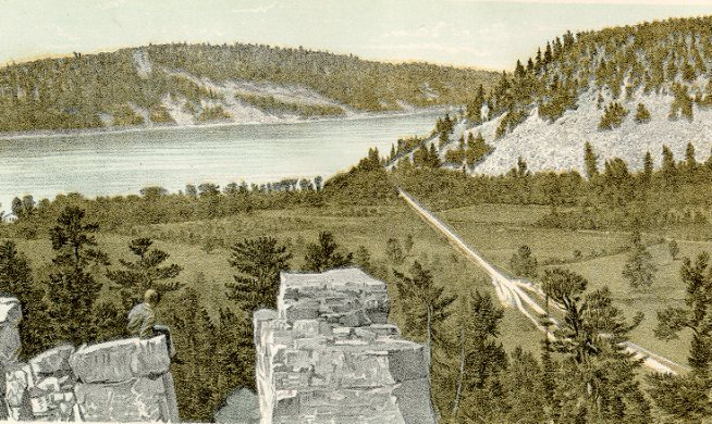 Devils Lake from the South Bluff, Kirks Bluff on the right 475 feet high. Lithographic print from Geology of Wisconsin Survey of 1873-1877 Volume II Plate XV T.C. Chamberlin, Chief Geologist.