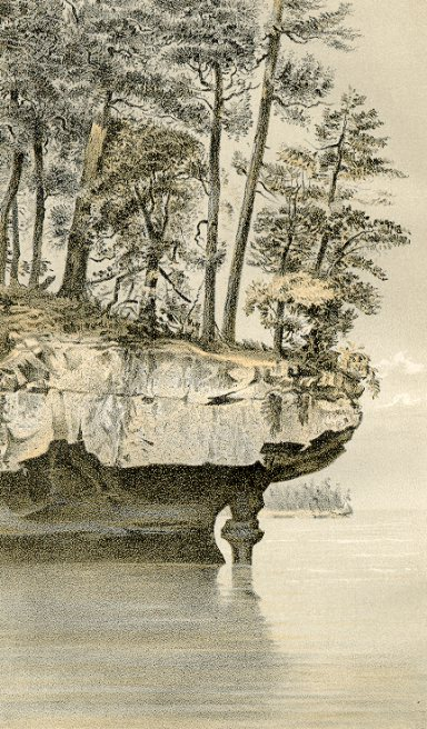 Lake Superior Sandstone, Hemlock Island, Lake Superior, (Ashland County). Lithographic print  from Geology of Wisconsin Survey of 1873-1879 Volume III Plate X T.C. Chamberlin, Chief Geologist.