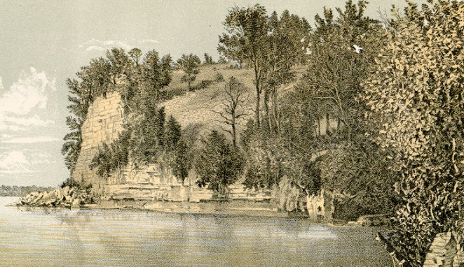 Lukas Point, Green Lake, showing junction of Postdam Sandstone and Lower Magnesian Limestone. Lithograph from Geology of Wisconsin Survey of 1873-1877 Volume II Plate II T.C. Chamberlin, Chief Geologist.
