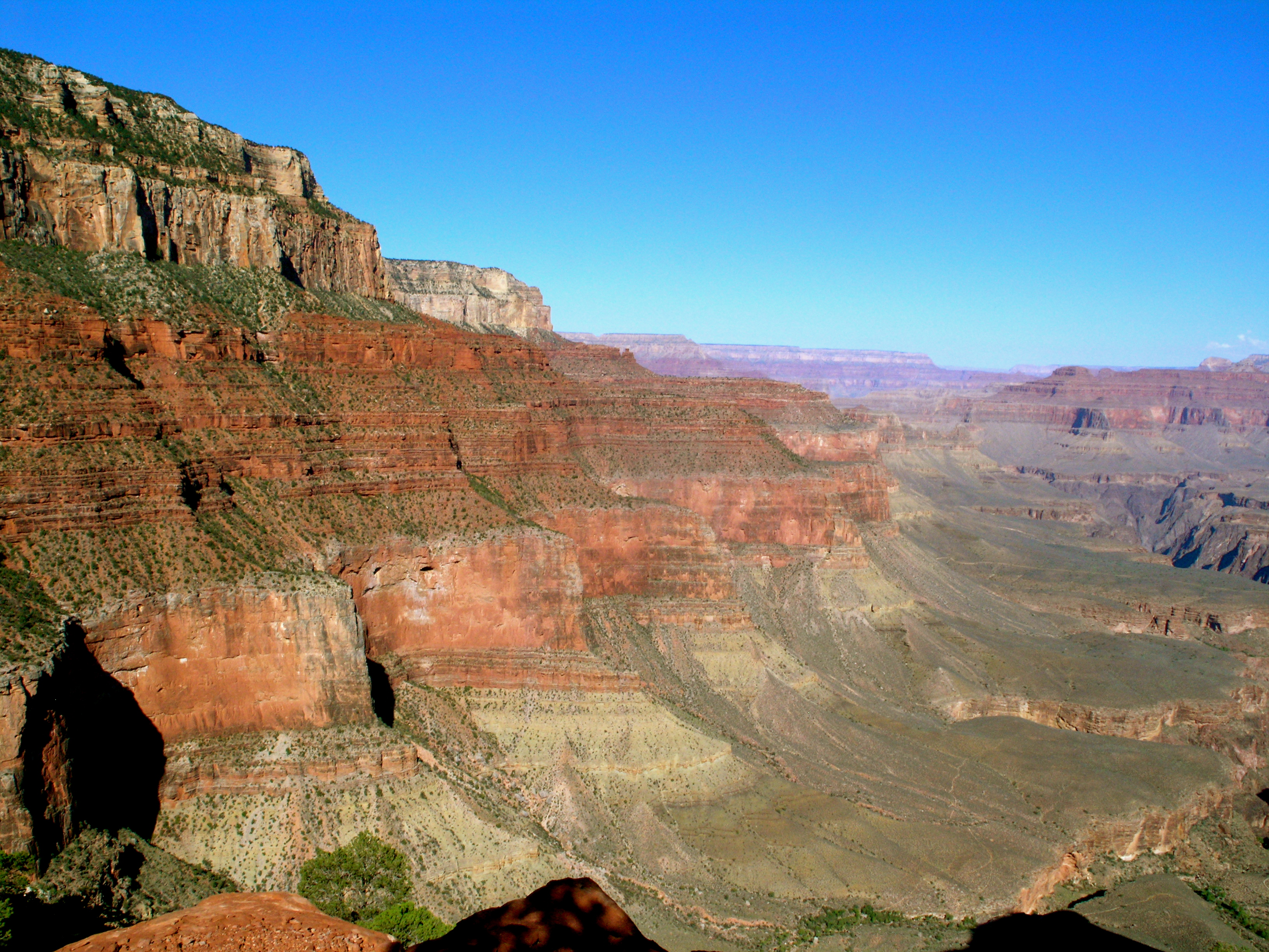 Examples of clastic and carbonate sedimentary rock layers at the Grand Canyon National Park photo taken from South Kaibab Trail.