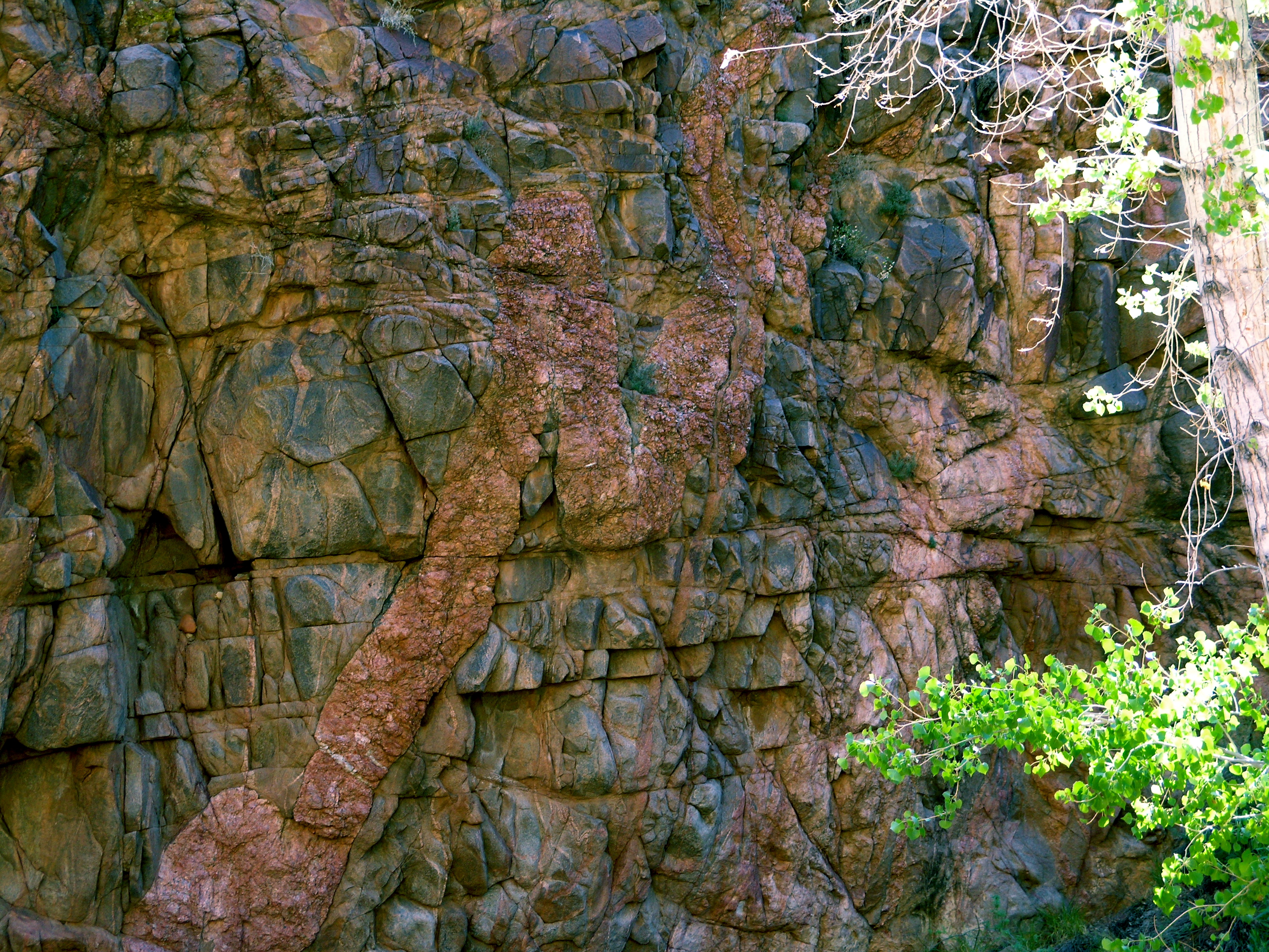 Igeneous granitic rock (pink) cutting across older black and light pink rock. Understanding these relationships helps geologist understand how these area formed and which rocks are older. Image taken in the Grand Canyon National Park on the South Bright Angel Trail just above the Devil's Cork Screw. Zoroaster Granite (pink) and Vishnu Schist (black).