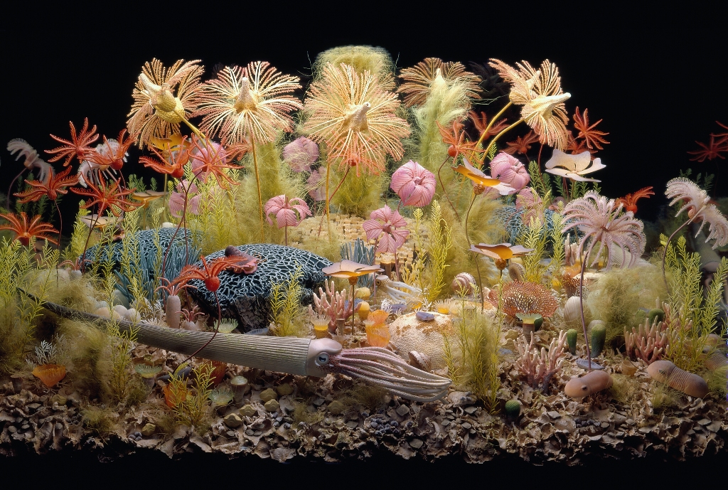 Crinoids and other organisms in the Silurian reef diorama at the Field Museum