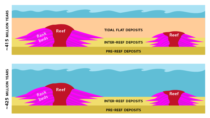 Diagram showing reefs being buried.