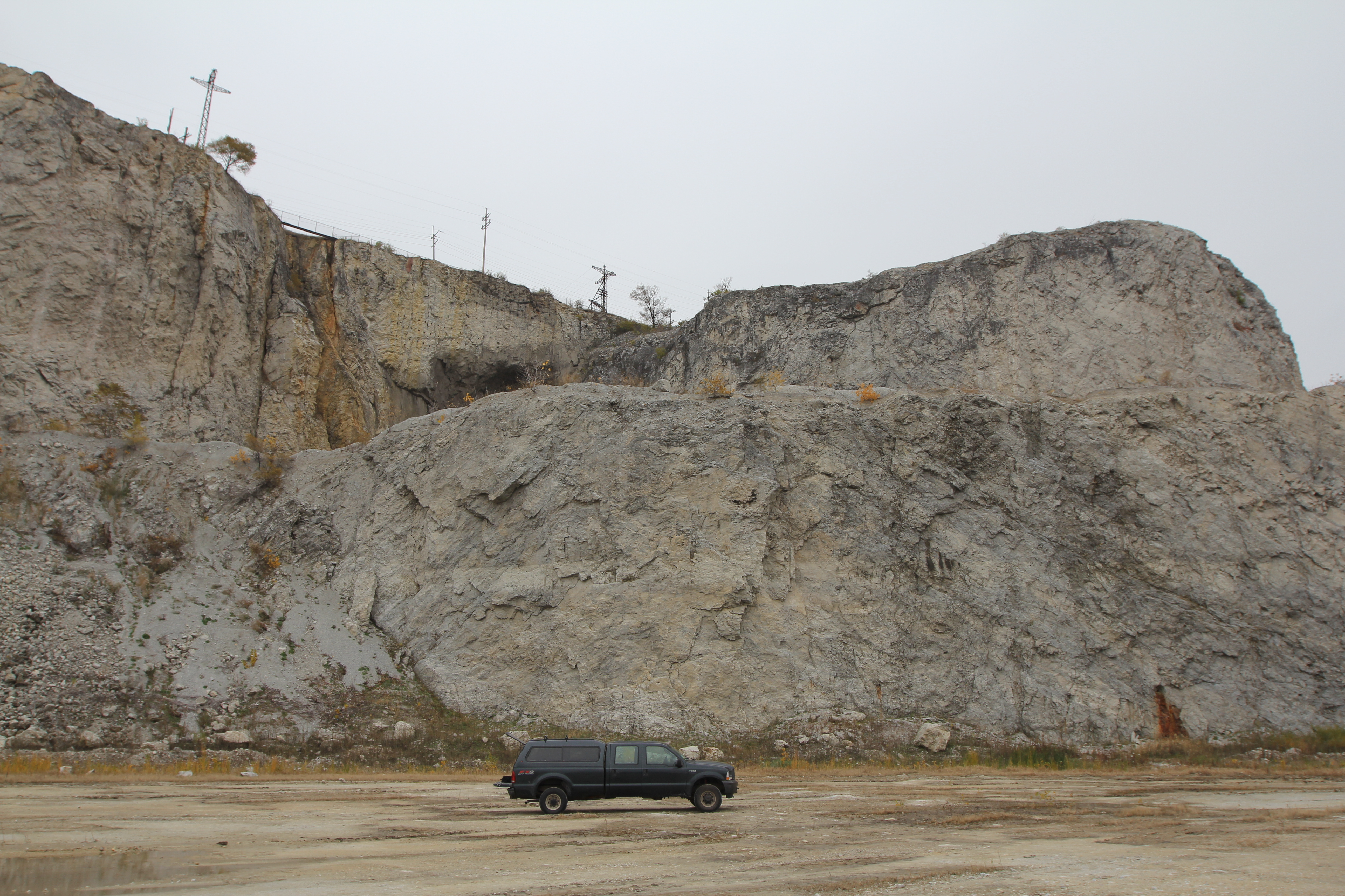 Reef core with flank beds dipping off of it to the right and left at Hanson Material Service Quarry (Thornton Quarry). (Note pick-up truck for scale.)  The tunnel just visible over the top of the reef core leads to another quarry pit.
